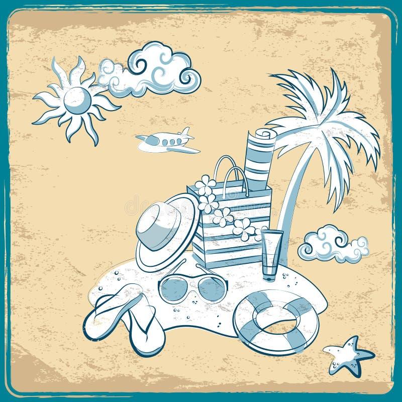 Download Retro urlopowy tło ilustracja wektor. Ilustracja złożonej z atrament - 28959233