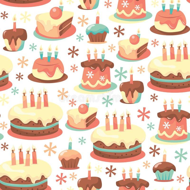 Retro Urodzinowych tortów Bezszwowy Deseniowy tło royalty ilustracja