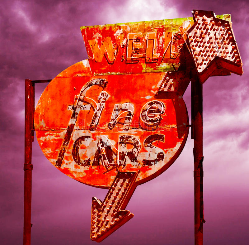 Retro Used Car Sign stock images