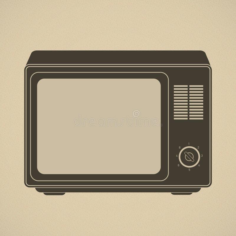 retro ustalona sylwetka tv ilustracja wektor