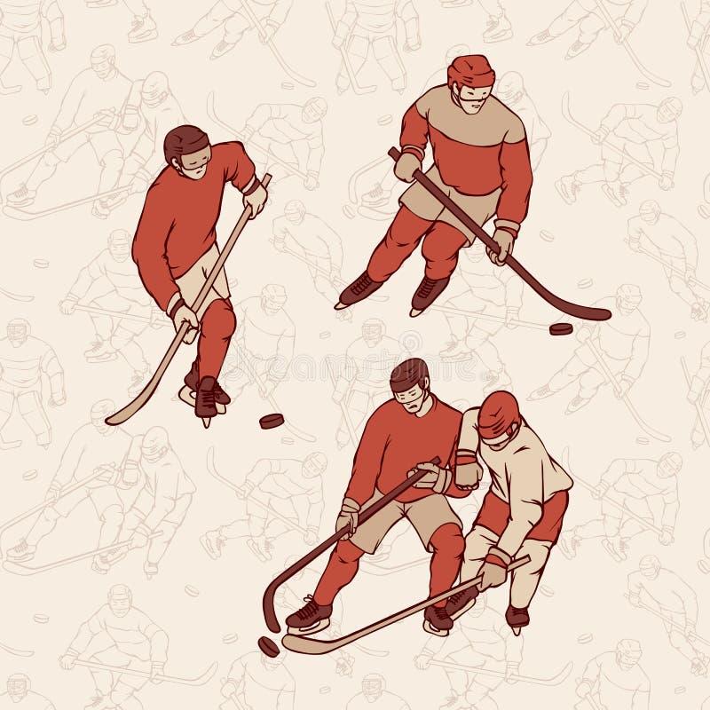 Retro ustalony gracz w hokeja i bezszwowy deseniowy tło Roczników sportsmans ruch z hokejowym kijem wewnątrz i krążkiem hokojowym ilustracja wektor