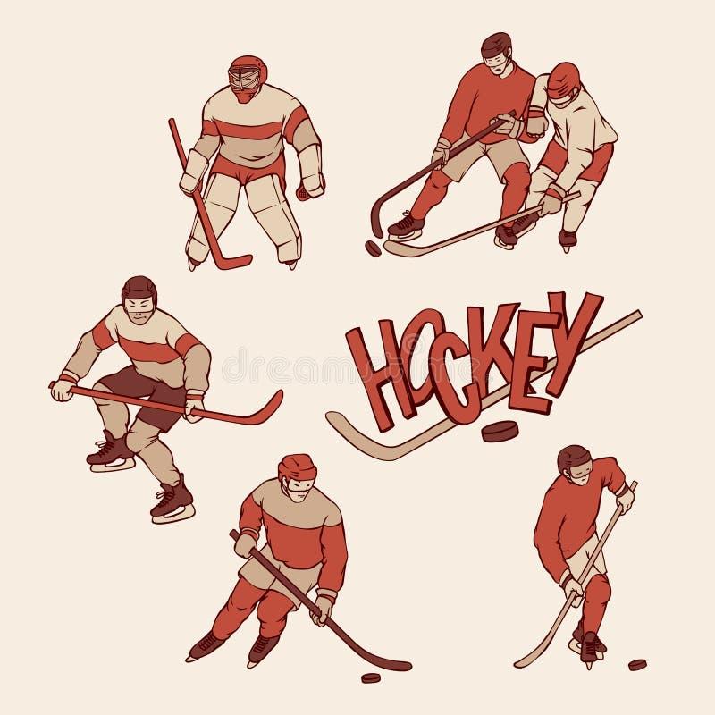 Retro ustalony gracz w hokeja i bramkarz w sportach mundurujemy Roczników sportsmans ruch z hokejowym kijem wewnątrz i krążkiem h ilustracja wektor