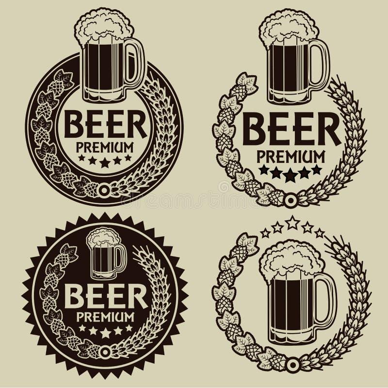 Retro utformad öl förseglar/etiketter royaltyfri illustrationer