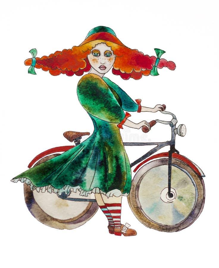 Retro utformad flicka med en bycyclevattenfärgmålning stock illustrationer