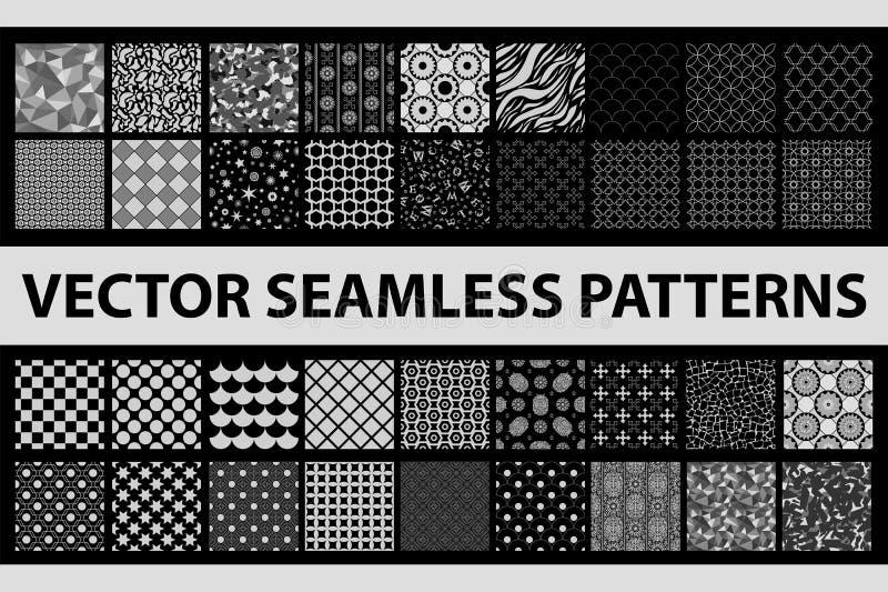 Retro utformad sömlös modellpacke för vektor: abstrakt begrepp, tappning, teknologi och geometriskt 36 svartvita beståndsdelar stock illustrationer