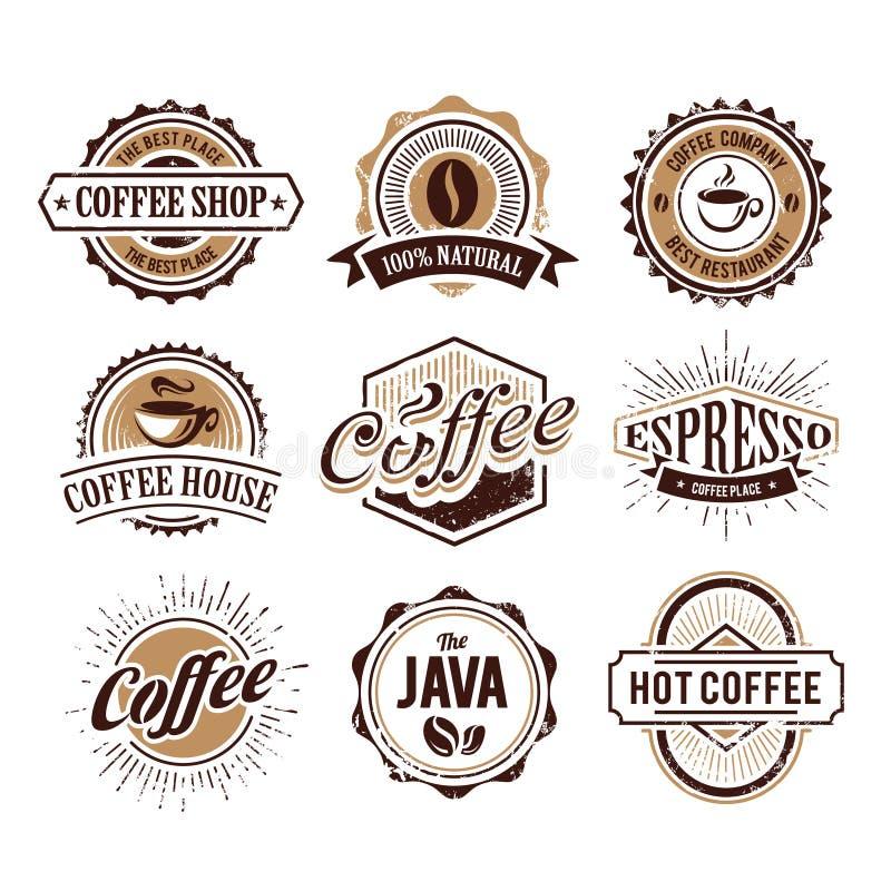 Retro utformade kaffeemblem royaltyfri illustrationer