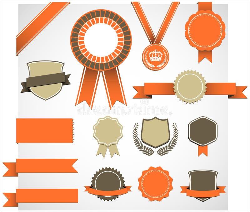 Retro utmärkelsebeståndsdeluppsättning stock illustrationer