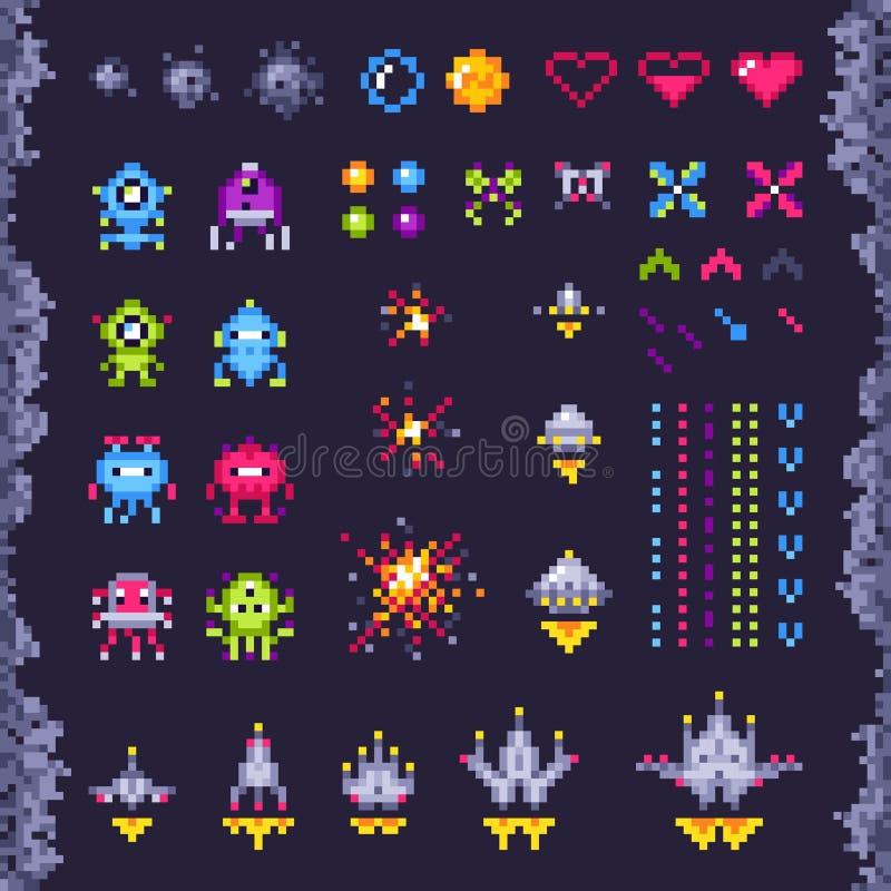 Retro utrymmegallerilek Angripare rymdskepp, PIXELangriparemonstret och retro videospelPIXELkonst isolerade objekt royaltyfri illustrationer