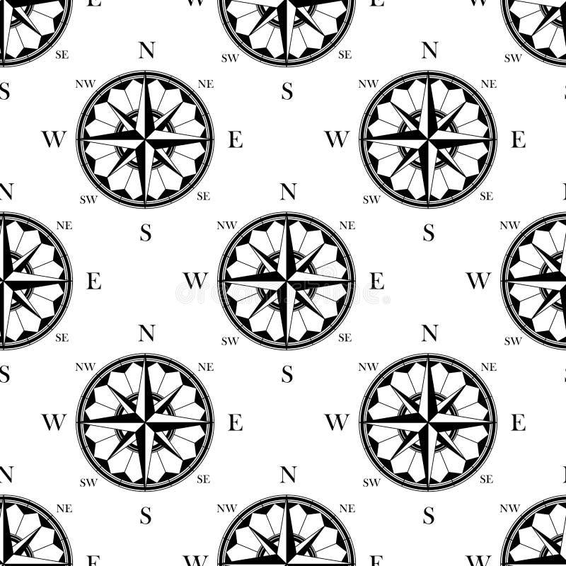 Retro utsmyckad sömlös modell för kompassrosor vektor illustrationer