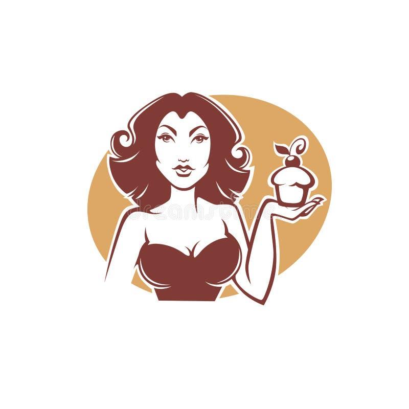 Retro utvikningsbrudflicka för skönhet som rymmer en läcker smaklig muffin stock illustrationer