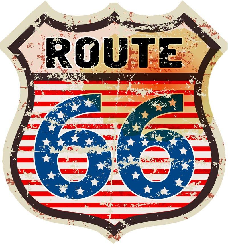 Retro vägmärke för rutt 66 royaltyfri illustrationer