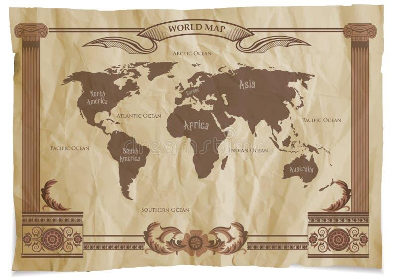 Retro världskarta för gammal tappning också vektor för coreldrawillustration royaltyfri illustrationer