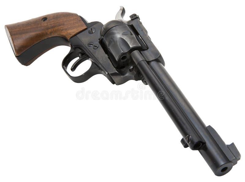 Retro västra revolver isolerad vit arkivbild