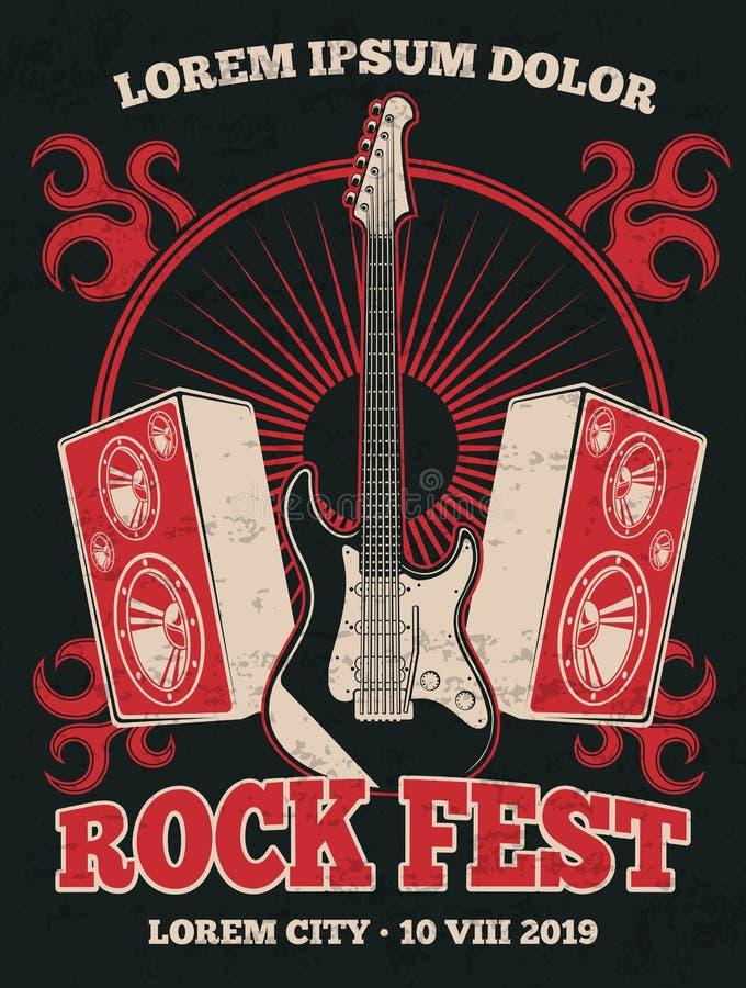 Retro vagga affischen för musikmusikbandvektorn med gitarren stock illustrationer