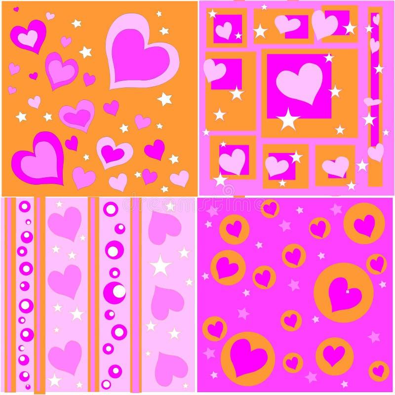 retro valentijnskaartontwerpen royalty-vrije illustratie