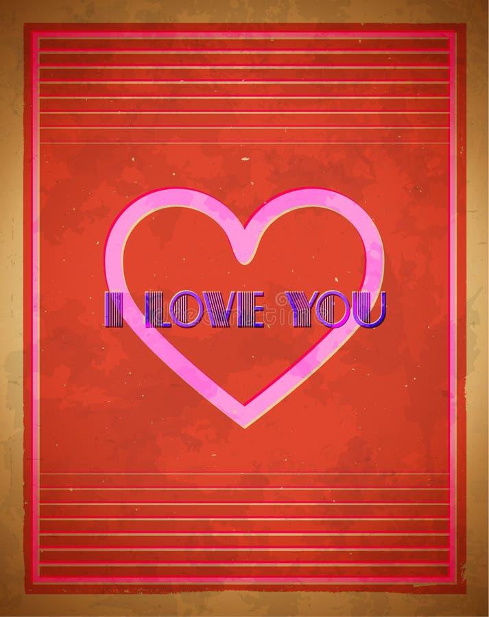 Retro- Valentinstag-Karte lizenzfreie abbildung
