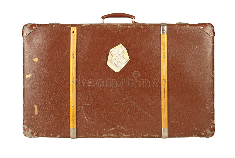 Retro valigia isolata su bianco fotografia stock