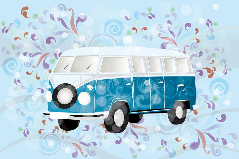 Retro van with colorful swirls. Illustration of a retro van with colorful swirls - eps 10 vector vector illustration