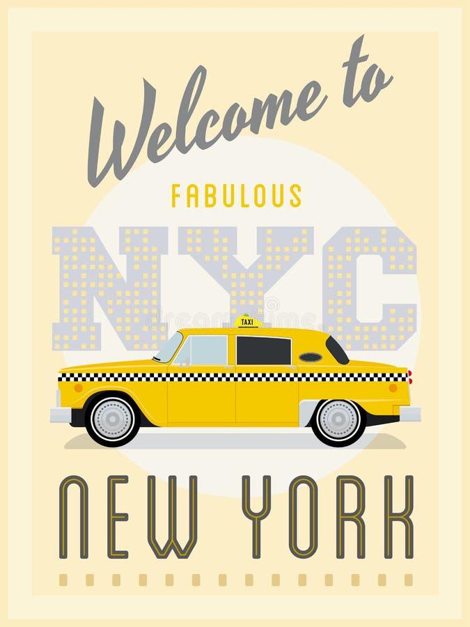 Retro van de de Taxiaffiche van New York Vectorillustratie vector illustratie