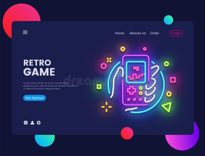 Retro van de het conceptenbanner van de Spelenwebsite Vector het ontwerpmalplaatje Retro Spel lichte banner in neonstijl, Retro g royalty-vrije illustratie