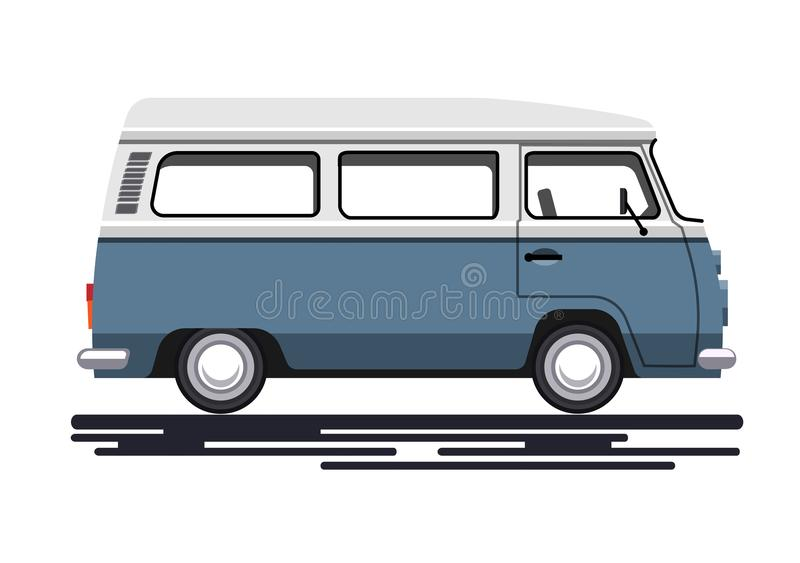 Retro van. In a flat style. Isolated on white background. Vector illustration Eps10 file vector illustration