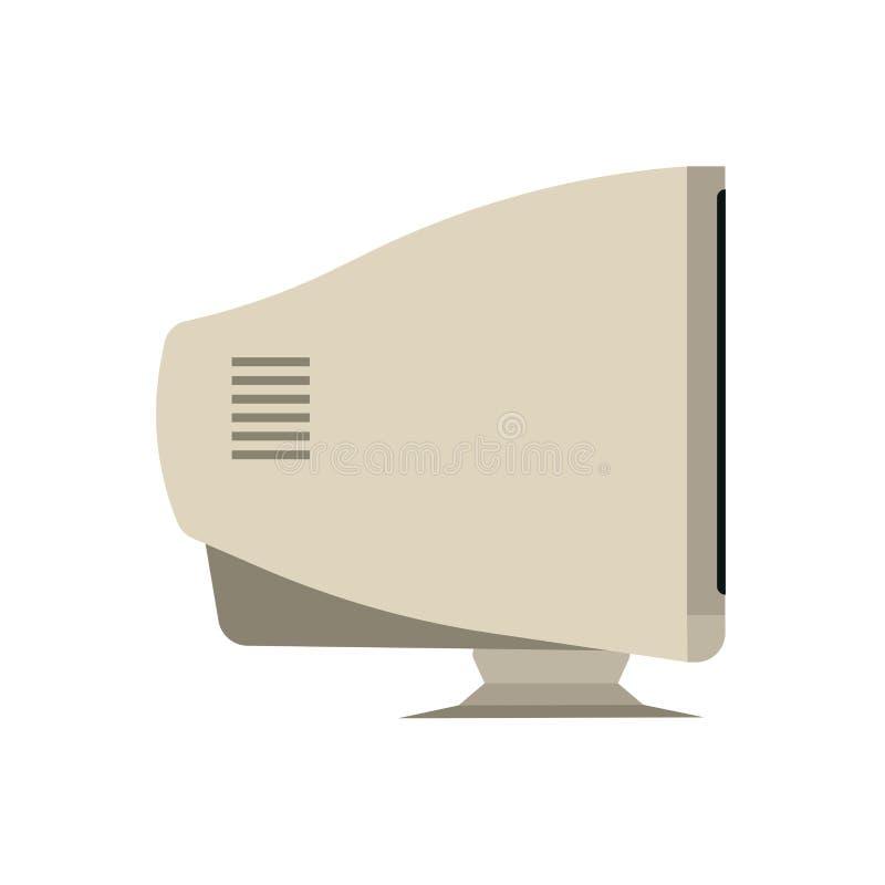 Retro van het het zijaanzichtapparaat van de monitorcomputer het materiaal vlak vectorpictogram PC van de jaren '90machine vector illustratie