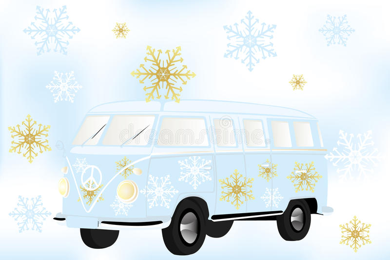 Retro van with white and golden snow flakes - Stock Illustration. Retro van with white and golden snow flakes vector illustration