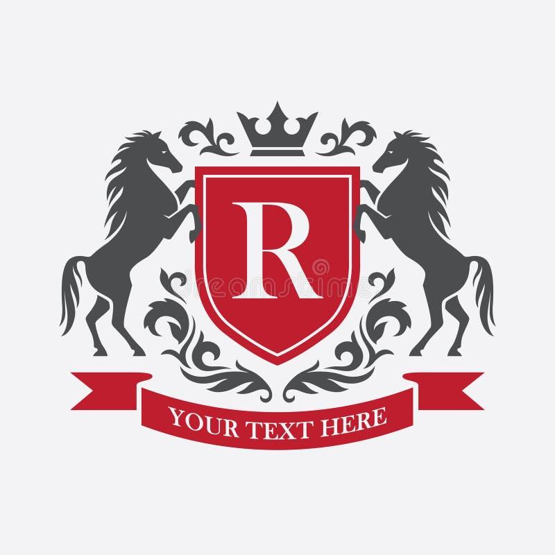 Retro vapen med den röda skölden och två hästar royaltyfri illustrationer