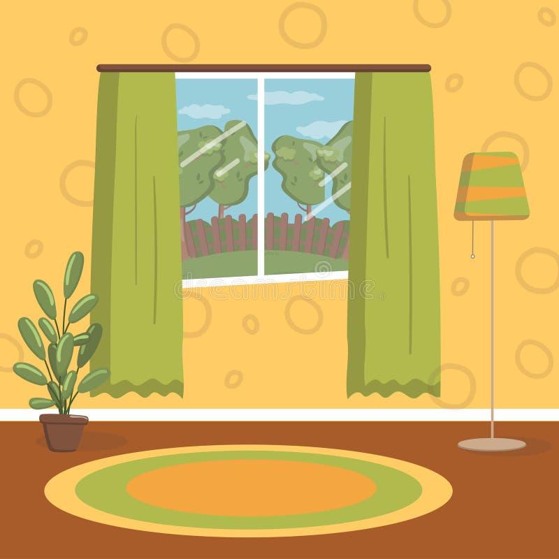 Retro vardagsrum, för hemmiljövektor för tappning hemtrevlig illustration stock illustrationer