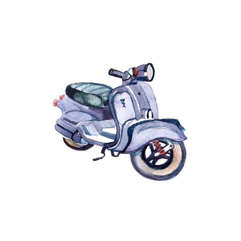 Retro vattenfärgillustration för sparkcykel Medel för Hipstertappninglopp som isoleras på vit bakgrund Strandsommardesign stock illustrationer