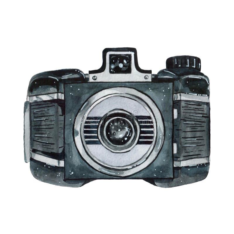 Retro vattenfärgkamera för tappning Göra perfekt för fotografilogo royaltyfri illustrationer