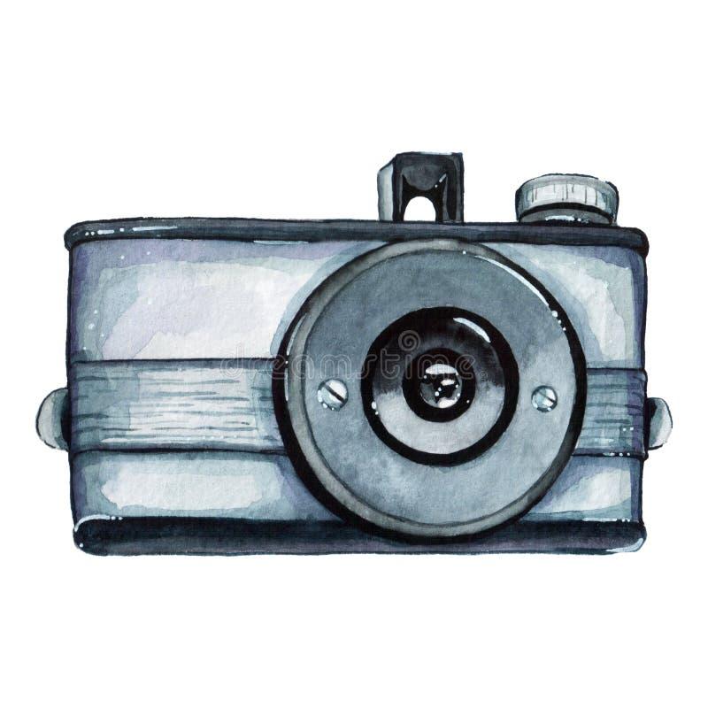 Retro vattenfärgkamera för tappning Göra perfekt för fotografilogo stock illustrationer