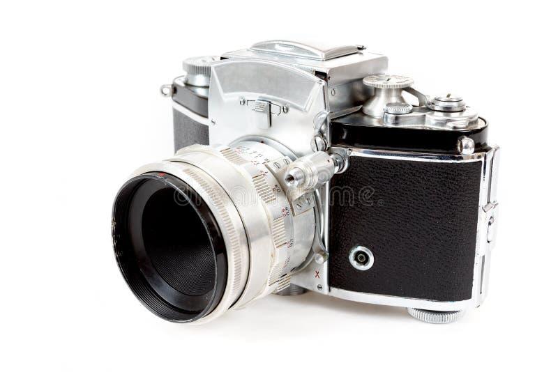 Retro vecchia macchina fotografica analogica d'annata della foto su bianco fotografia stock libera da diritti
