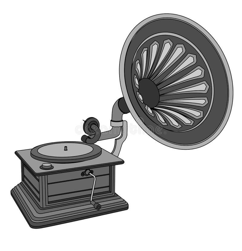 Retro vecchio grammofono, illustrazione in bianco e nero illustrazione di stock