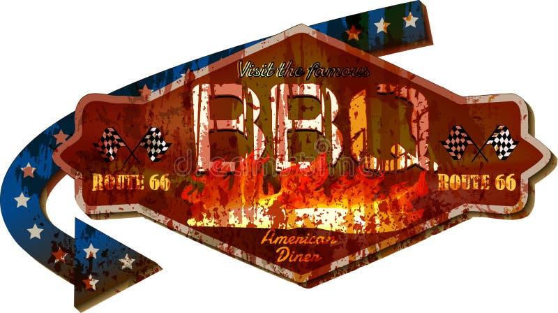 Retro vecchio segno grungy eccellente della cena del BBQ del barbecue, vettore d'annata di stile illustrazione di stock