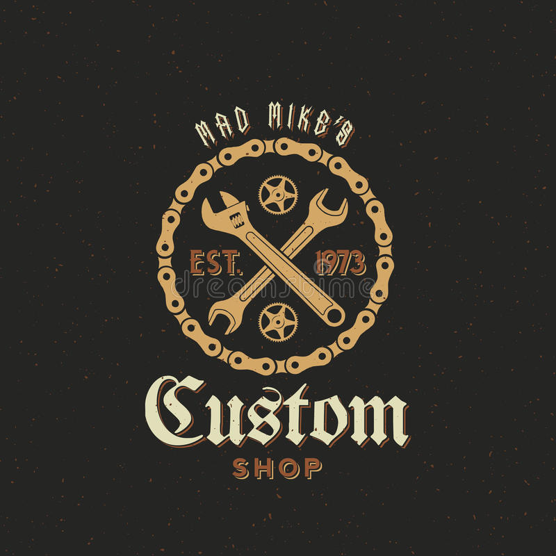 Retro Vector Bicycle Custom Shop Label or Logo royalty free illustration