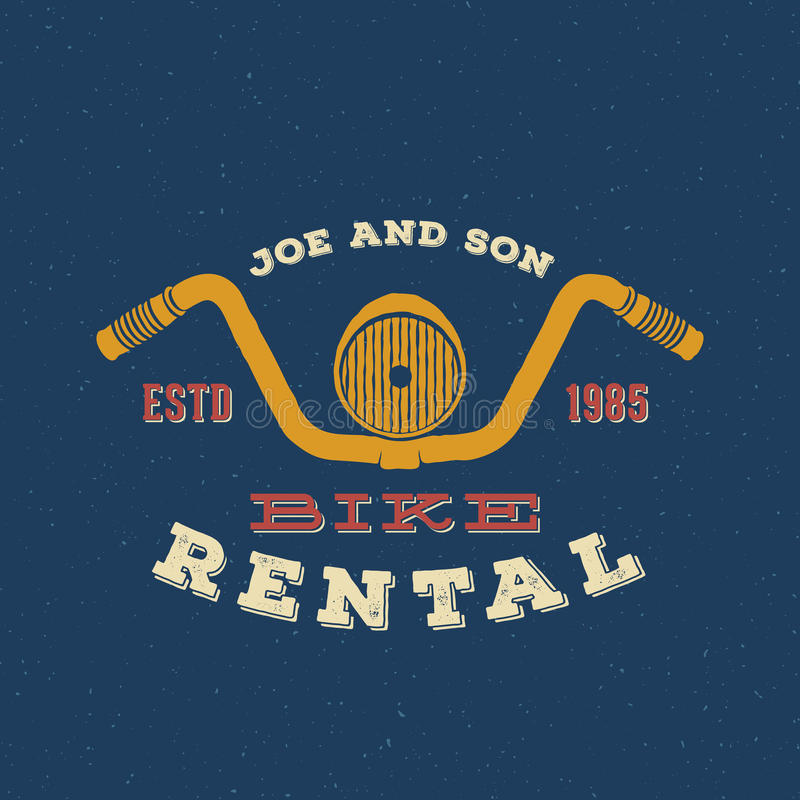 Retro Vector Bike Rental Label or Logo Design stock illustration