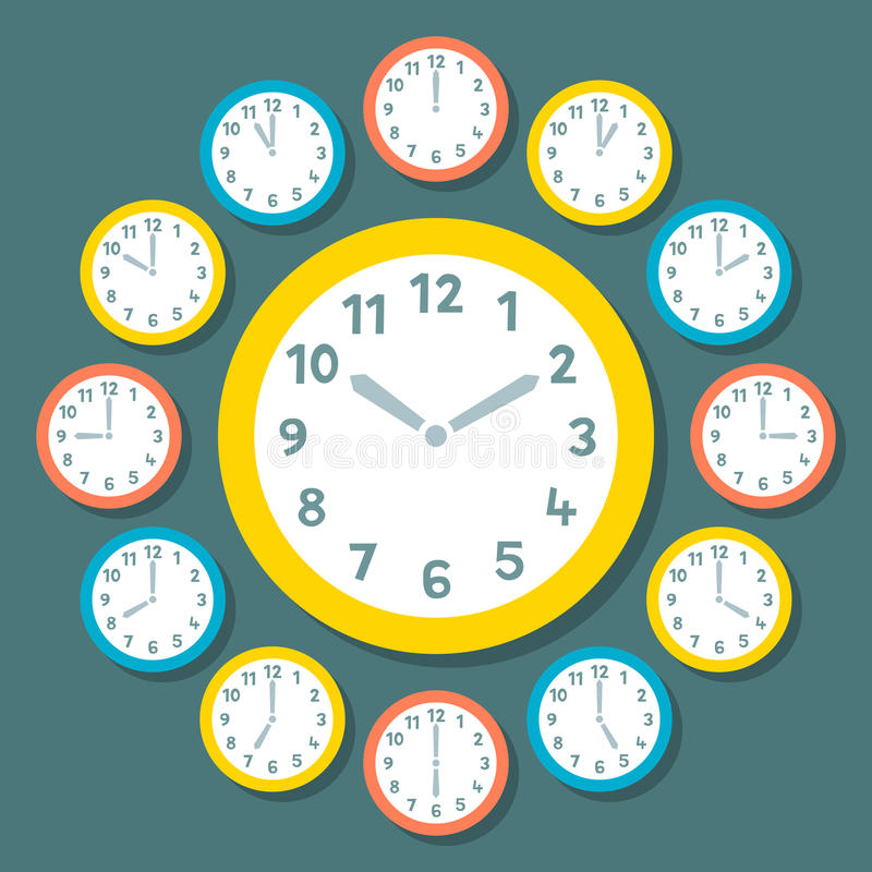 Download Retro Vector Clocks Showing All 12 Hours Stock Vector - Image: 41366836