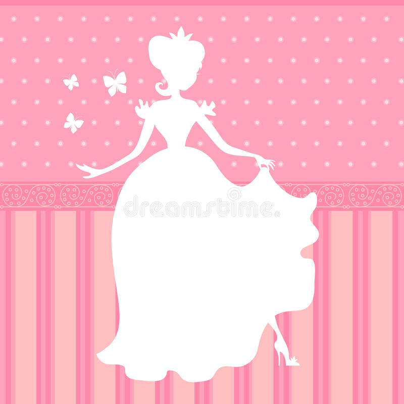 Retro vector pink background with little beautiful princess silhouette. Illustration of girl princess silhouette, beauty woman dress vector illustration