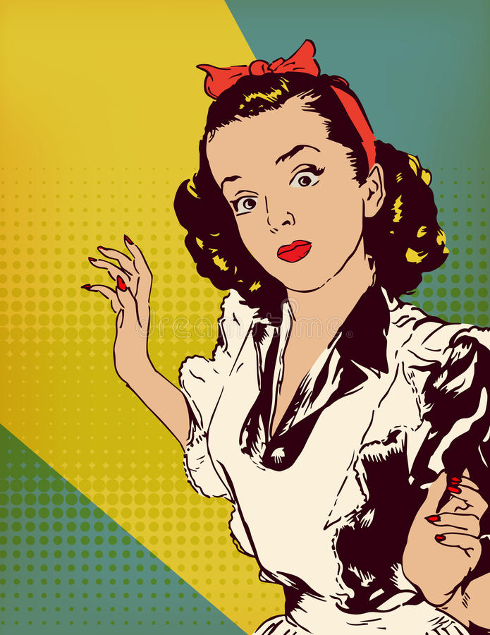 Retro vector poster. With housewife stock illustration