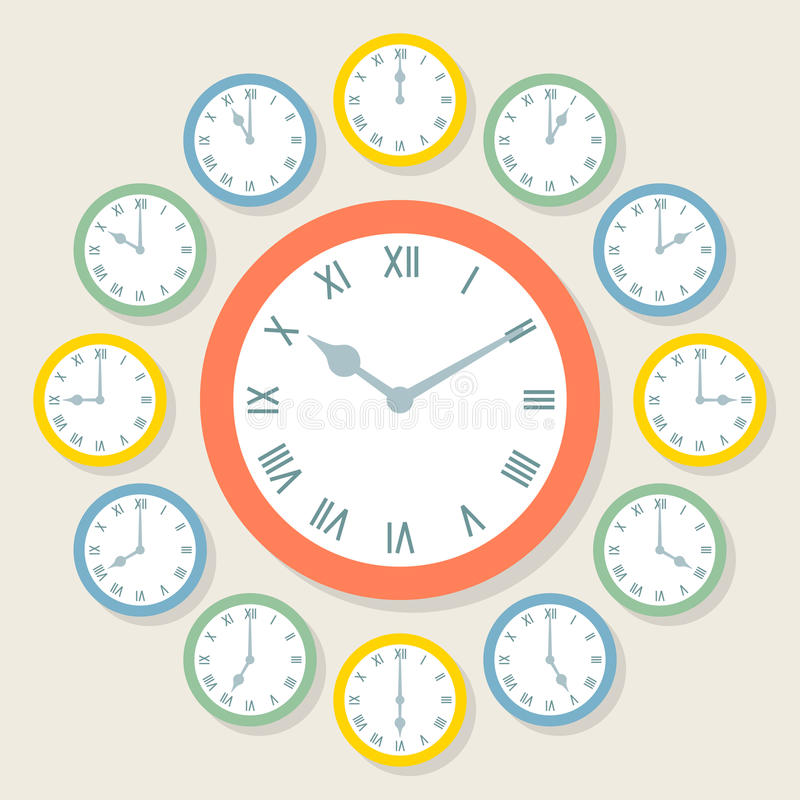 Retro Vector Roman Numeral Clocks Showing All 12 Hours. Each clock is on a separate layer stock illustration