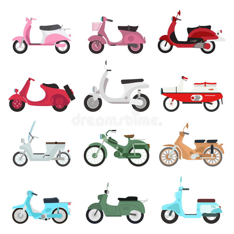 Retro vector scooter illustration. Retro vector scooter motorcycle travel design. Motorbike delivery vehicle illustration. Transportation moped cartoon motor stock illustration