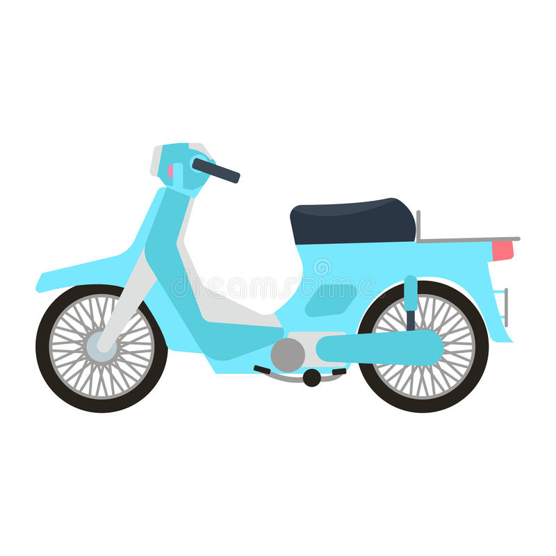 Retro vector scooter illustration. Retro vector vespa scooter motorcycle travel design. Motorbike delivery vehicle illustration. Transportation moped cartoon stock illustration