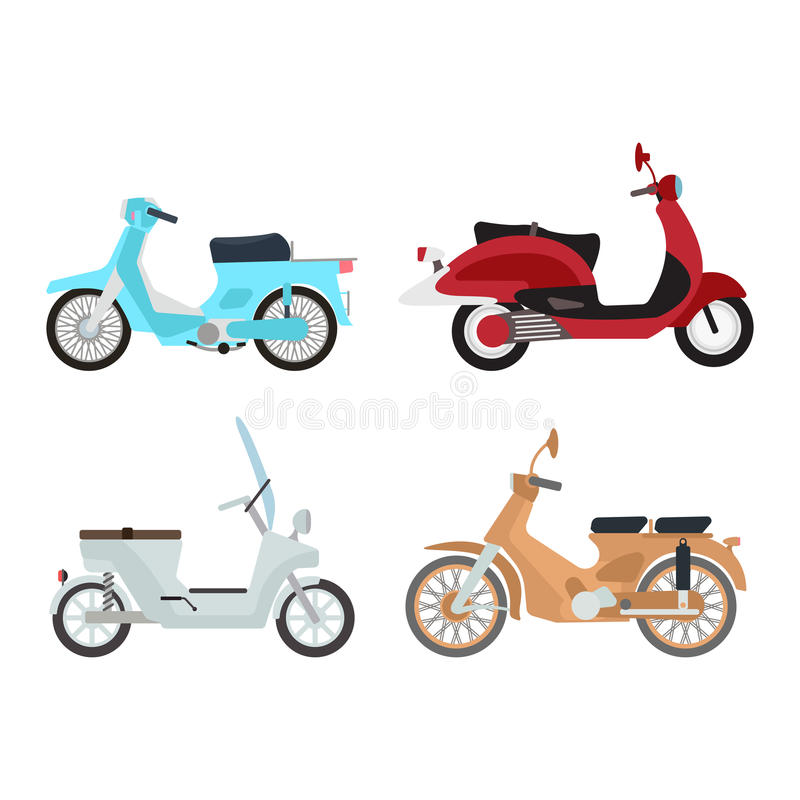 Retro vector scooter illustration. Retro vector vespa scooter motorcycle travel design. Motorbike delivery vehicle illustration. Transportation moped cartoon royalty free illustration