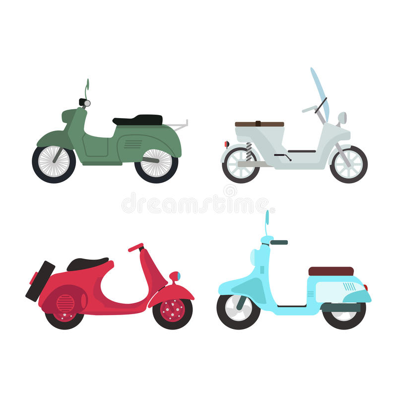 Retro vector scooter illustration. Retro vector vespa scooter motorcycle travel design. Motorbike delivery vehicle illustration. Transportation moped cartoon vector illustration