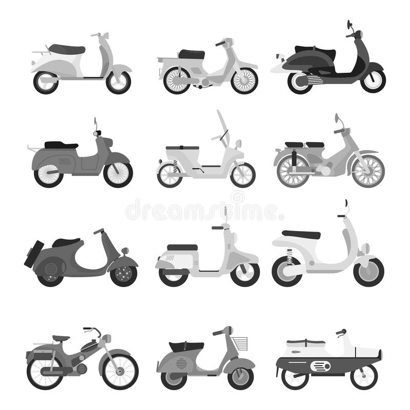 Retro vector scooter silhouette illustration. Retro vector vespa scooter motorcycle travel design. Motorbike delivery vehicle illustration. Transportation moped vector illustration