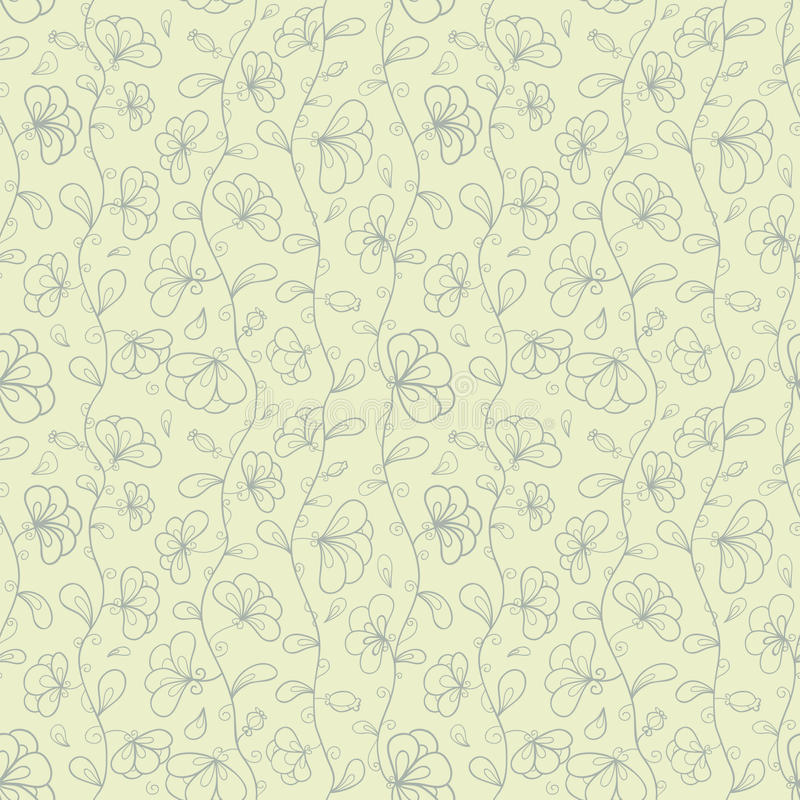 Retro vector seamless pattern with doodle stylized. Flowers. This is file of EPS10 format royalty free illustration