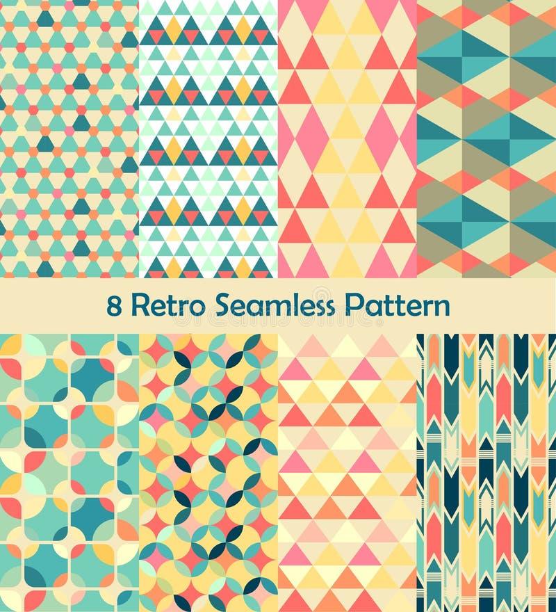 8 Retro vector seamless patterns set royalty free illustration