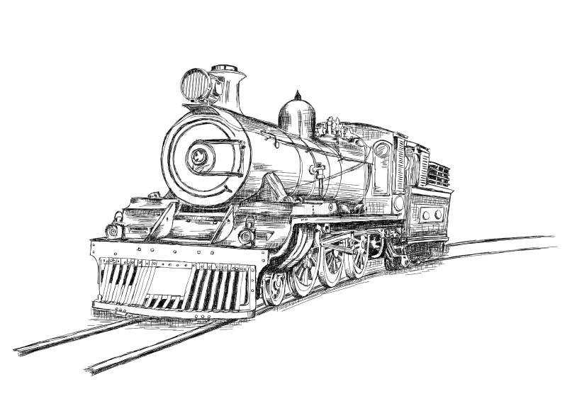 Retro Vector van de de Spoorwegmotor van de Stroom Voortbewegingstrein stock illustratie