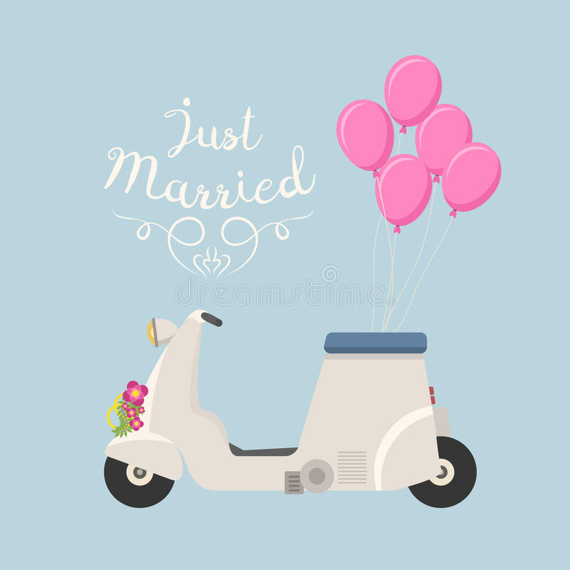 Retro vector wedding scooter illustration. Retro vector wedding vespa scooter motorcycle travel design. Motorbike delivery vehicle illustration. Transportation royalty free illustration
